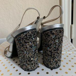 Zara sequin block heels